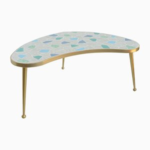 German Brass & Mosaic Kidney Shaped Table, 1950s