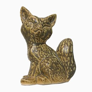 Glazed Ceramic Fox Figurine by Kaare Berven Fjeldsaa, 1960s