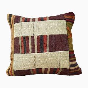 Housse de Coussin Kilim Patchwork en Laine Tissée à la Main de Vintage Pillow Store Contemporary