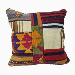 Turkish Handmade Patchwork Kilim Pillow Cover from Vintage Pillow Store Contemporary