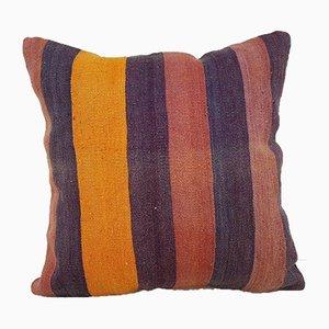 Handgewebter orangener Kelim Kissenbezug aus Teppichstoff von Vintage Pillow Store Contemporary