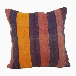Handwoven Orange Kilim Rug Pillow Cover from Vintage Pillow Store Contemporary