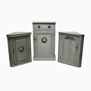 Antique Swedish Painted Cupboards, 1910s, Set of 3