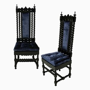 Anglo-Indian Solid Ebony Hall Chairs, 1840s, Set of 2