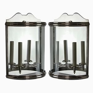 Vintage Silvered Demi Lune Wall Lanterns, 1950s, Set of 2