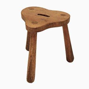 Taburete rústico de madera, años 60