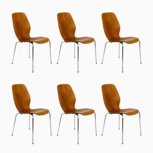 Chaises en Teck & Contreplaqué par Herbert Hirche pour Jofa Stalmobler, Danemark, 1950s, Set de 6