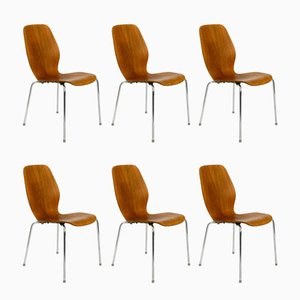 Danish Teak & Plywood Chairs by Herbert Hirche for Jofa Stalmobler, 1950s, Set of 6