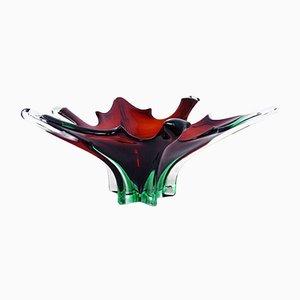 Vide-poche o cenicero grande de cristal de Murano, años 70