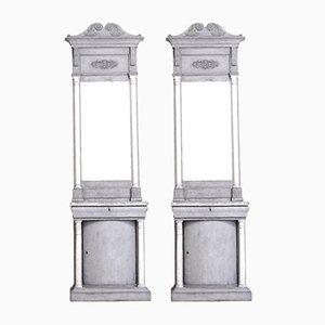 Consolas danesas con espejos, década de 1820. Juego de 2