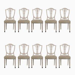 Antike Esszimmerstühle mit Bronzefüßen, 10er Set