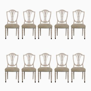 Antique Dining Chairs with Bronze Feet, Set of 10
