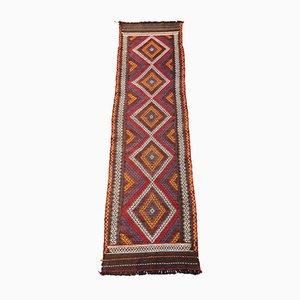 Antiker handgewebter Kelim Läufer aus Wolle