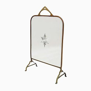 Antique Victorian Brass and Glass Fire Screen
