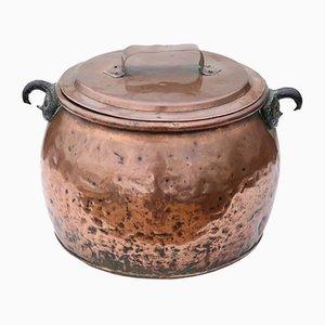 Maceta victoriana antigua grande de cobre