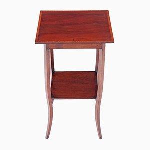 Table d'Appoint Édouardienne Antique en Acajou Marqueté