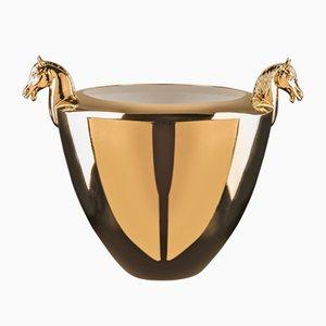 Cuenco italiano con caballo de cerámica dorada de Marco Segantin para VGnewtrend
