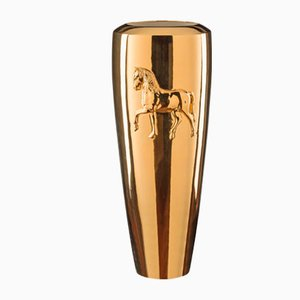 Gold Ceramic Horse Relief Vase by Marco Segantin for VGnewtrend