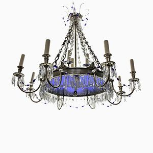 Russian Silver Plated Chandelier with Blue Glass, 1890s
