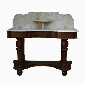 Antique Victorian Mahogany and Marble Washbasin
