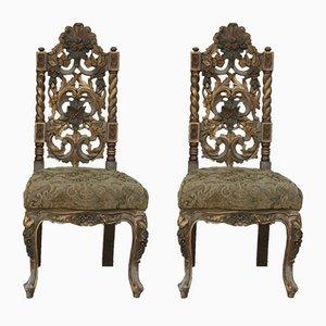 Geschnitzte Vintage Stühle, 2er Set