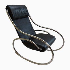 Rocking Chair en Chrome et Cuir Noir de Heal's, 1970s