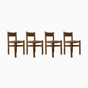 Chaises Meribel en Orme par Charlotte Perriand, 1960s, Set de 4