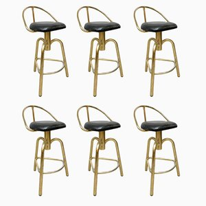Hollywood Regency Brass Bar Stools, 1960s, Set of 6