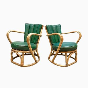 Vintage Rattan & Leather Armchairs, Set of 2