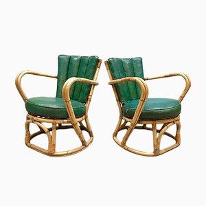 Vintage Sessel aus Rattan und Leder, 2er Set