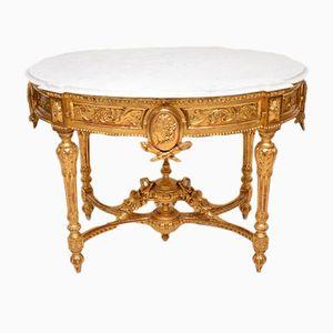 Table d'Appoint Antique en Marbre avec Bois Doré, France