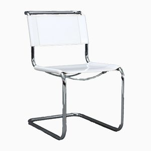 Vintage White Leather S33 Cantilever Chair by Mart Stam for Thonet