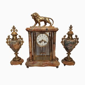 French Marble & Brass Mantel Clock & 2 Amphora Vases from Comptoir General Schnerb, 1890s