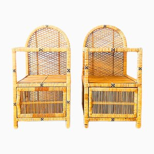 Vintage Wicker Nightstands, 1970s, Set of 2