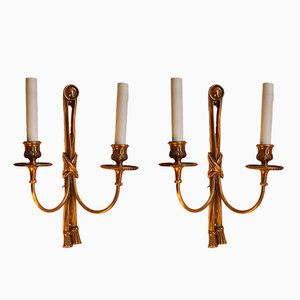 Hollywood Regency Cast Bronze Sconces, 1970s, Set of 2