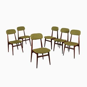 Stained Beech & Fabric Dining Chairs, 1960s, Set of 6