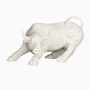 Weiße Keramik des Wall Street Bullen von VGnewtrend