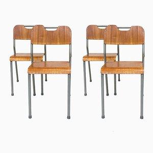 Sillas de escuela apilables escandinavas, años 60. Juego de 4
