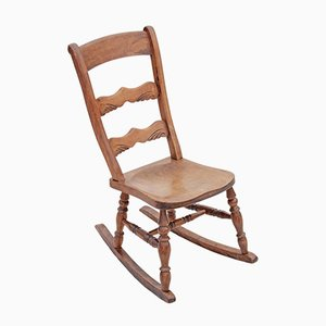 Rocking Chair Victorien Antique en Hêtre et Orme