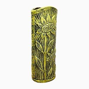 Keramikvase mit Sonnenblumen-Motiv von Gunnar Nylund für Rörstrand, 1970er