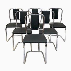 Sedie da pranzo Mid-Century in metallo cromato, anni '60, set di 6