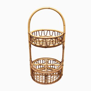 Vintage French Rattan Drinks Rack, 1960s