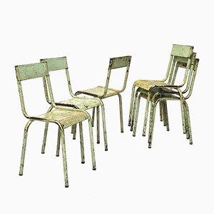 Sedie impilabili industriali in metallo, anni '40, set di 6