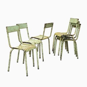 Vintage Industrial Metal Stacking Chairs, 1940s, Set of 6