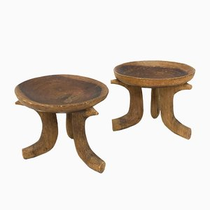 Brutalist Wooden Side Tables, 1940s, Set of 2