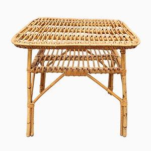 Table Basse Mid-Century en Rotin, Italie, 1960s
