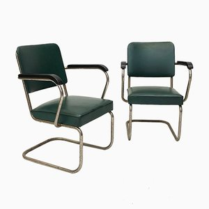 Bauhaus Style Scandinavian Armchairs, 1940s, Set of 2