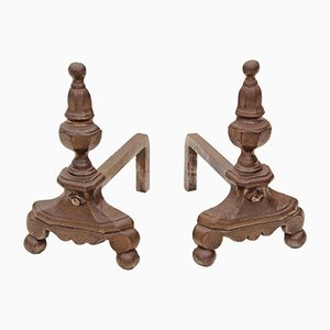 Antique Forged Cast Iron Fire Dogs, Set of 2