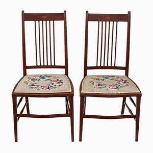 Antike edwardianische Stühle aus Mahagoni mit bestickten Sitzen, 2er Set