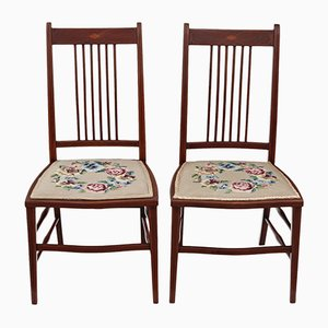 Antique Edwardian Mahogany Needlepoint Chairs, Set of 2